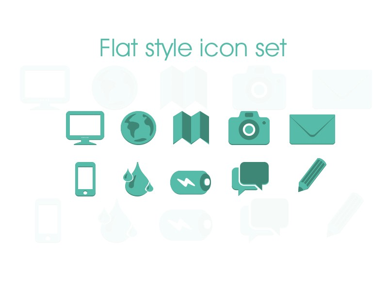 More flat icons the iconfinder blog flat icon world map camera mail iphone water battery gumiabroncs Images