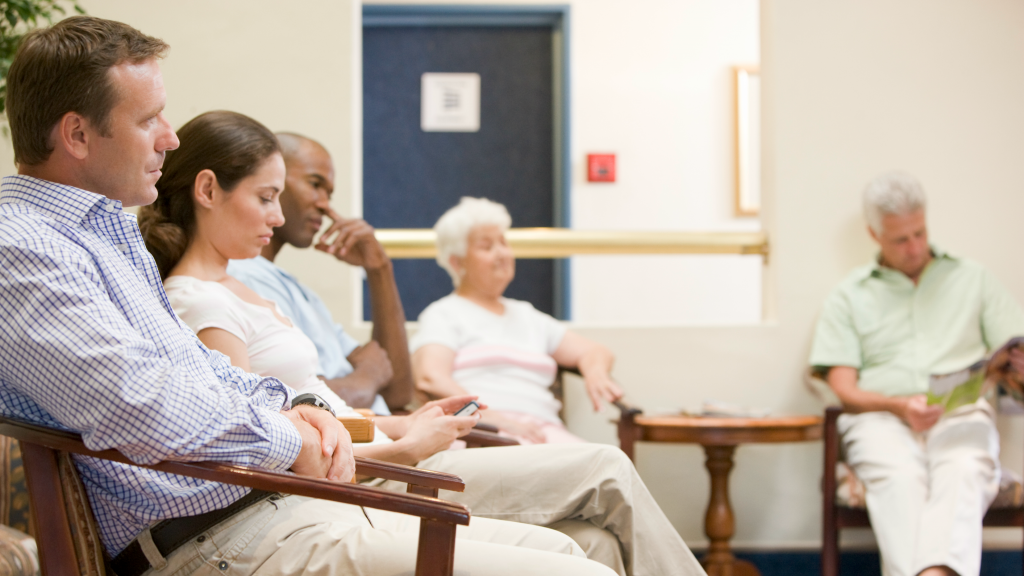 Patients in waiting room, increased need due to physician shortage