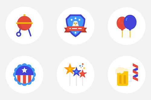 Free Flat Icon Set: 🇺🇸 Happy 4th Of July (20 Icons, PNG, EPS, AI, SVG)