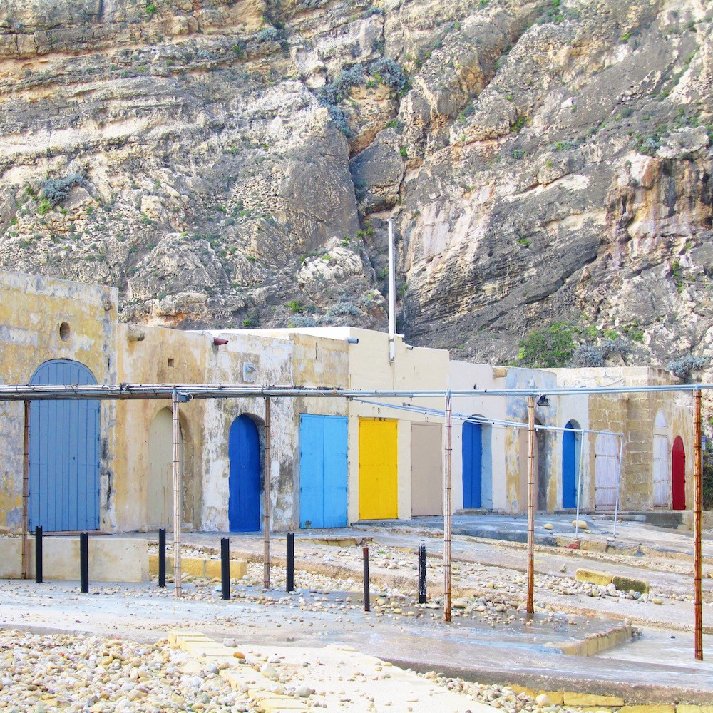 Boat houses on the Inland Sea, Gozo