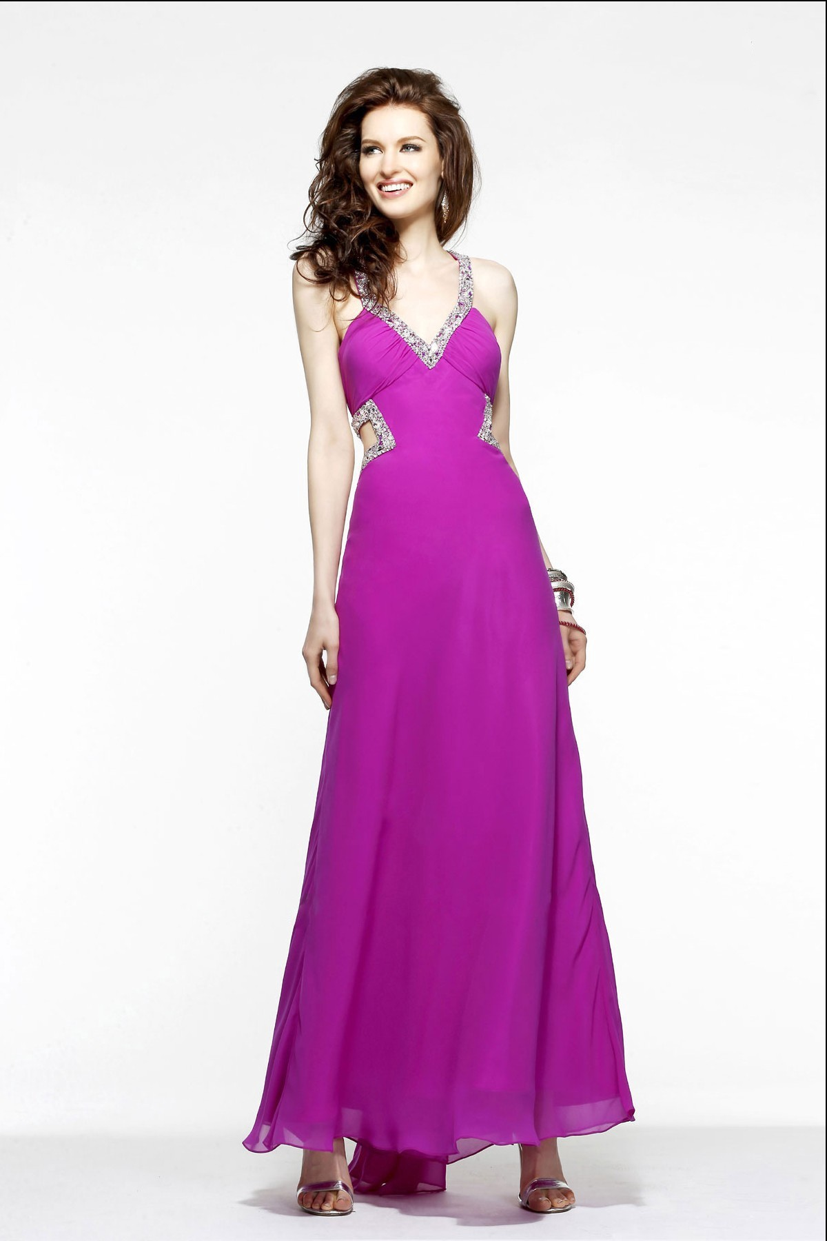 Charming A Line Halter Beading Floor Length Chiffon Wedding Guest