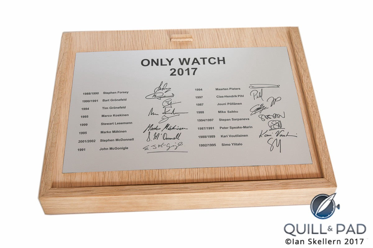 Signatures of 16 WOSTEP alumnis on the presentation case of the WOSTEP School Watch for Only Watch 2017