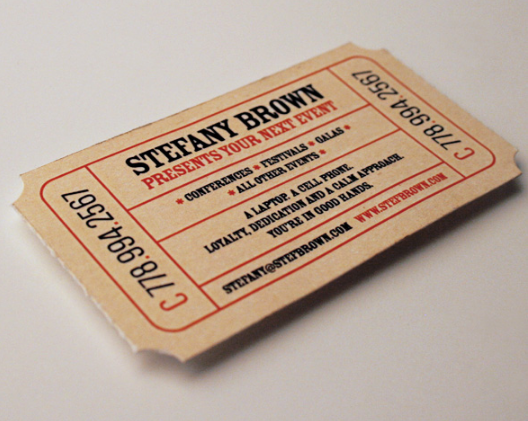 business card shaped ticket belongs to the creative name card design because it is not common it is still not a lot of companies use business card designs