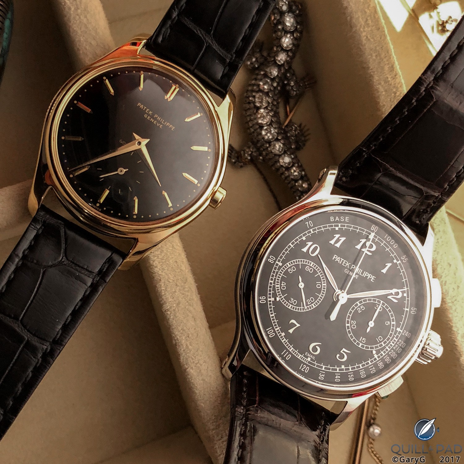 Black enamel then and now: the author's Patek Philippe Reference 2526 and Reference 5370P
