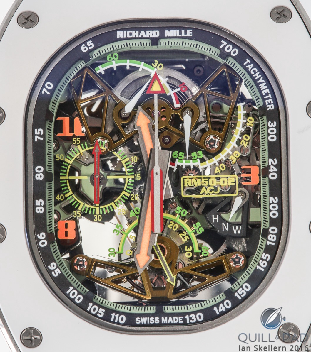 A close look through the Airbus window-shaped sapphire crystal of the Richard Mille RM 50-02 Airbus ACJ Tourbilon Split-Seconds
