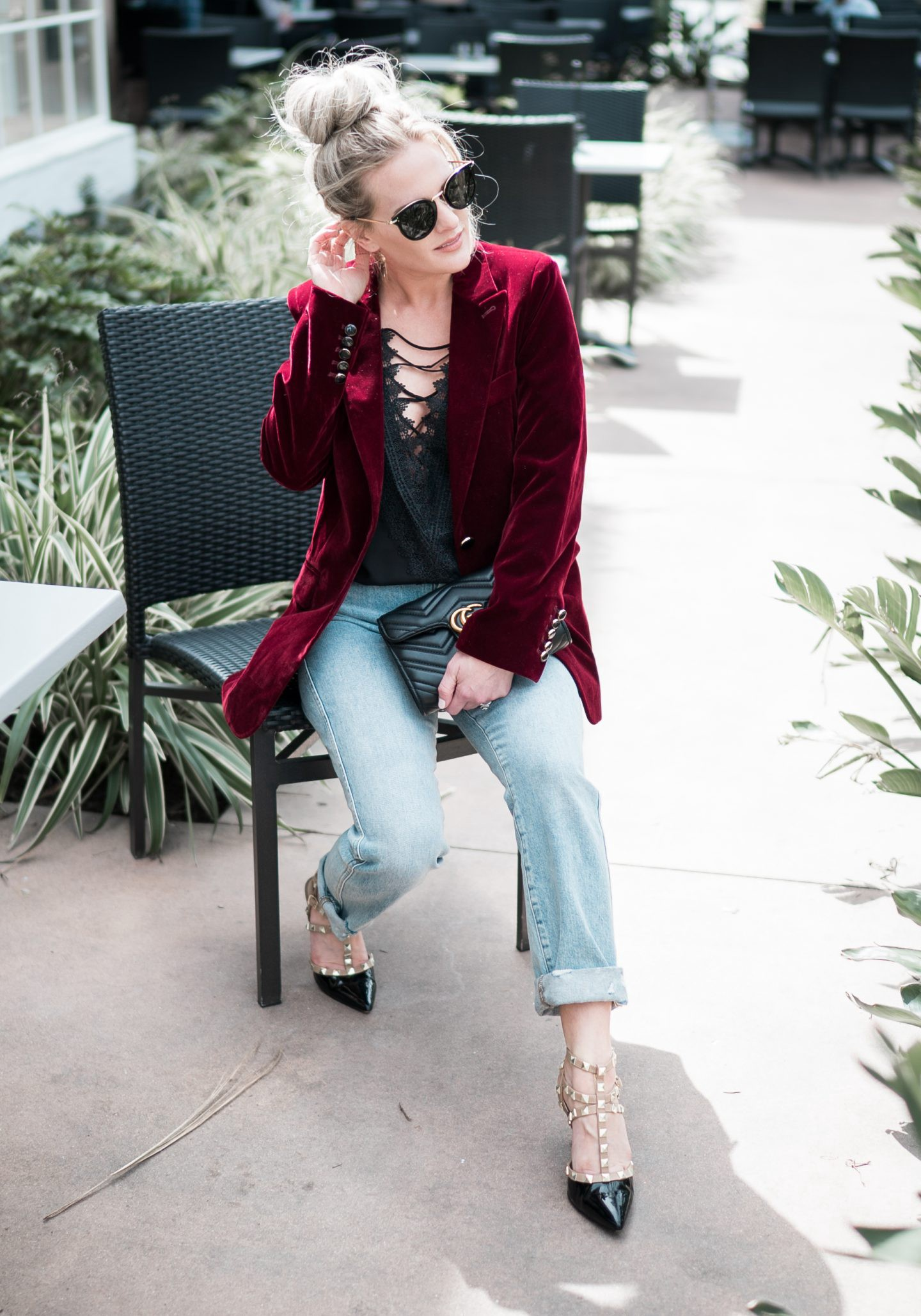 The Perfect Velvet Blazer for Spring by popular Orange County fashion blogger Dress Me Blonde