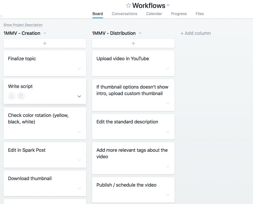 Screenshot of my process and workflow