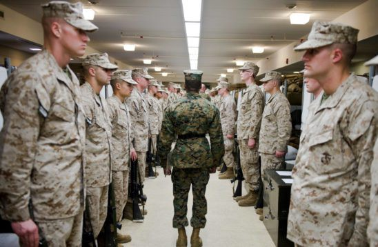 Mail at OCS: Platoon Sergeants and Sergeant Instructors with Officer Candidate School (OCS), inspect uniforms and equipment of Delta Company candidates aboard Marine Corps Base Quantico, VA on January 24, 2017