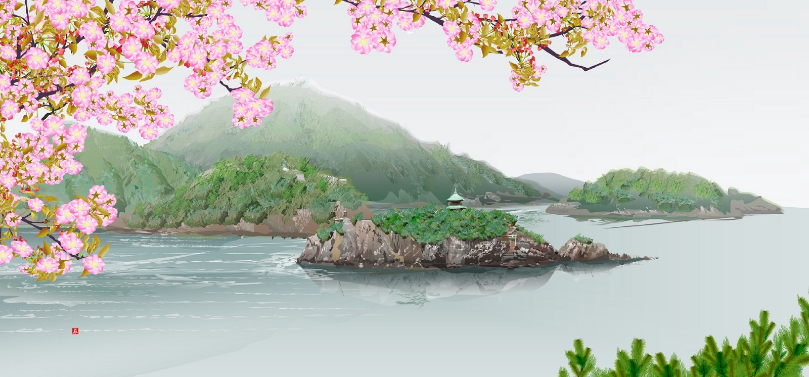 Landscape painting created with a spreadsheet tool