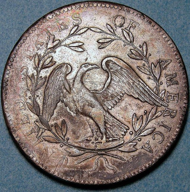 "Eagle on the back side of the ""streaming hair"" silver flowing hair dollar"