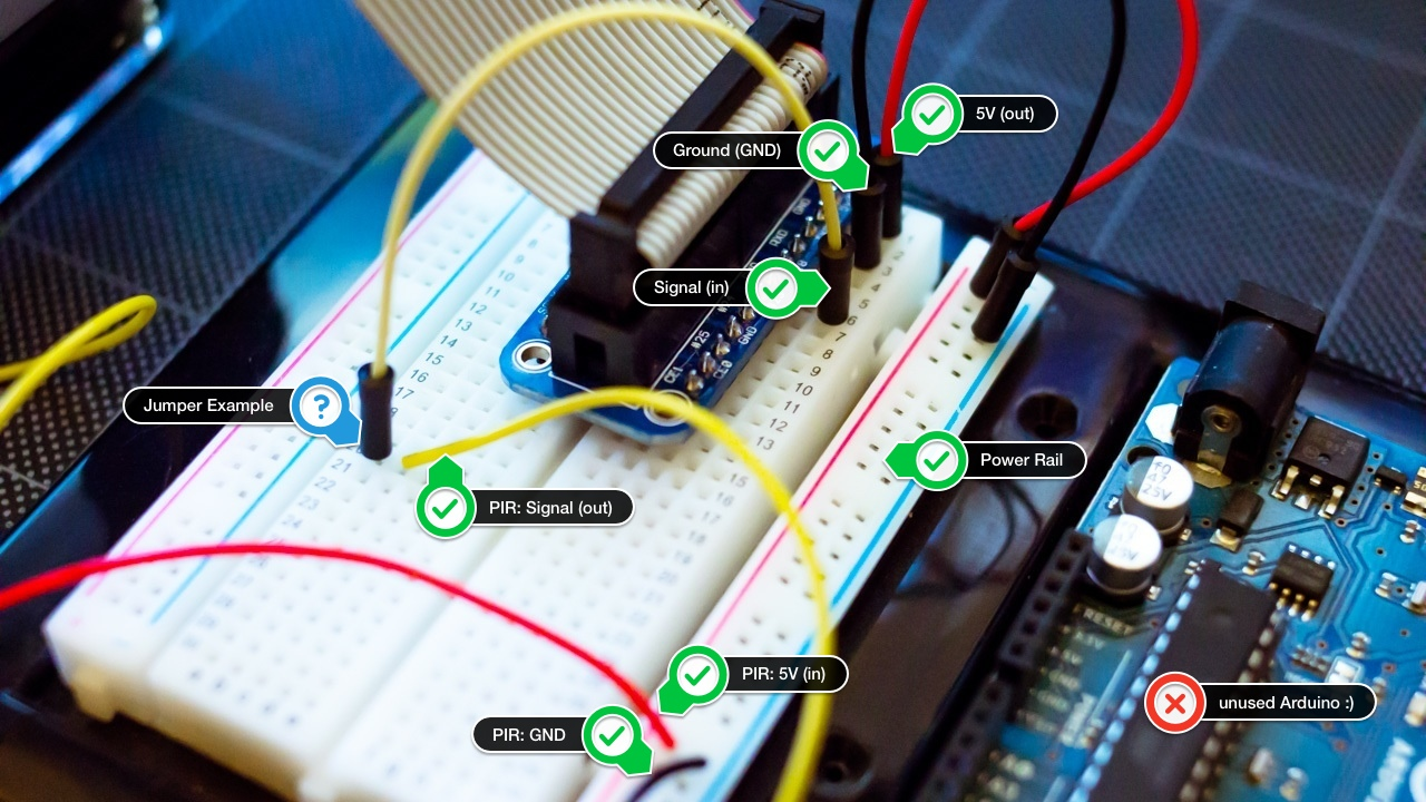 Raspberry Pi Javascript Motion Sensor Brandon Aaskov Medium Pir Circuit Diagram Also Wiring In The Picture Above Yellow Cable That Has Two Black Ends Is One Of Jumper Cables Im Using Fact And Red With Same