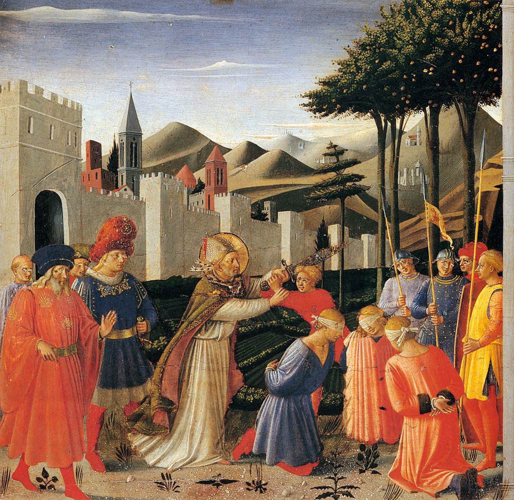 Fra Angelico, The Story of St. Nicholas: The Liberation of Three Innocents (one of three paintings from the predella of the Perugia Triptych that depict the life of St. Nicholas), 1447-48, tempera and gold on panel, Galleria Nazionale dell'Umbria, Perugia, Italy.