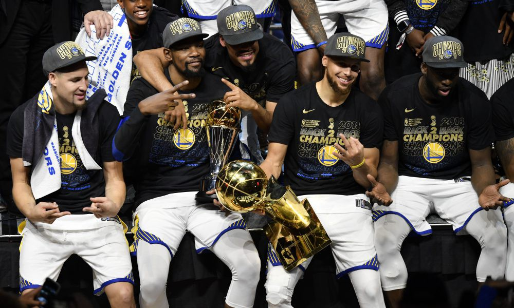 cb0caeb50fad The 2018 Warriors celebrating back to back championships after a 4–0 sweep  of the Cleveland Cavaliers. (image via USA Today)