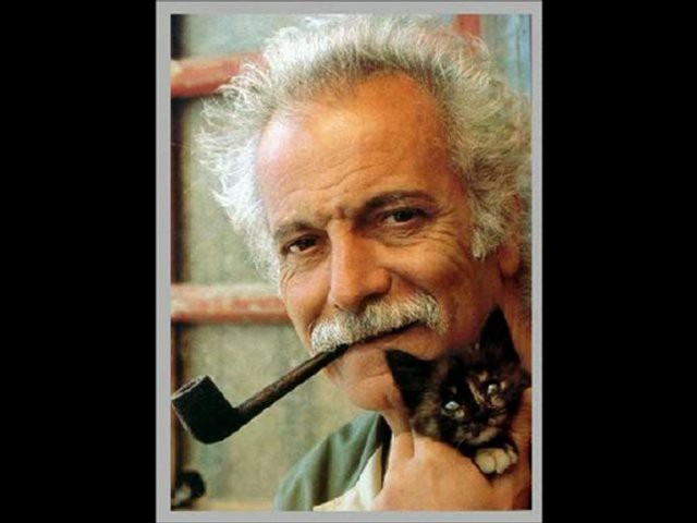 Georges Brassens and his cat