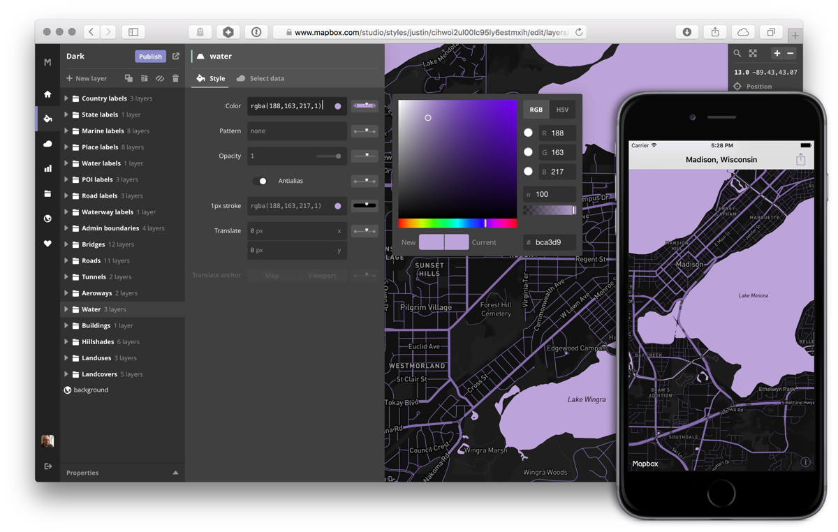 Custom mobile maps with Mapbox Studio + Twitter Fabric