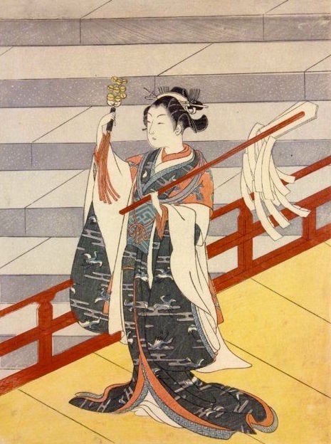 Shinto shrine dancer with gohei (purification strips) and bells. Made by Suzuki Harunobu Made in Japan 1724-1770