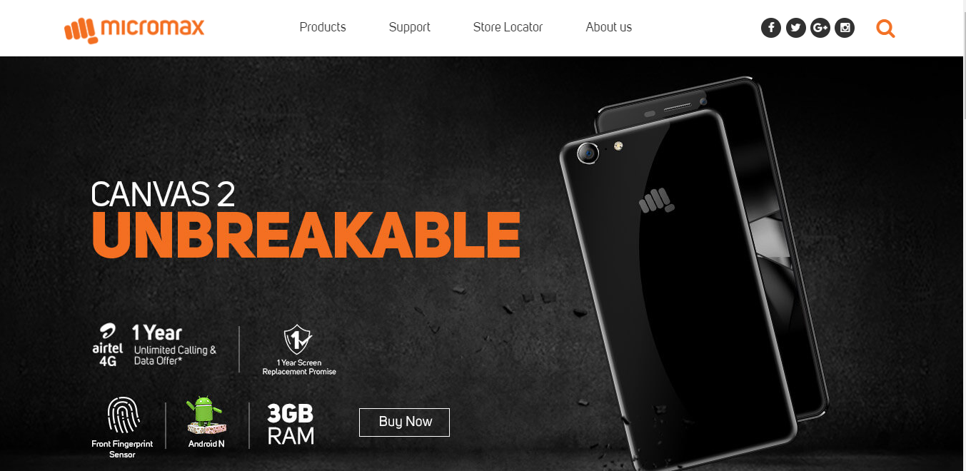 Micromax Booststrap example website