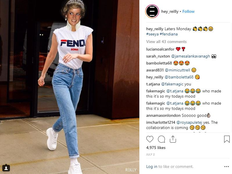 a7f5e34b Fendi x Fila collab, montage by instagram artist @hey_reilly changing Gigi  Hadid into princess Diana