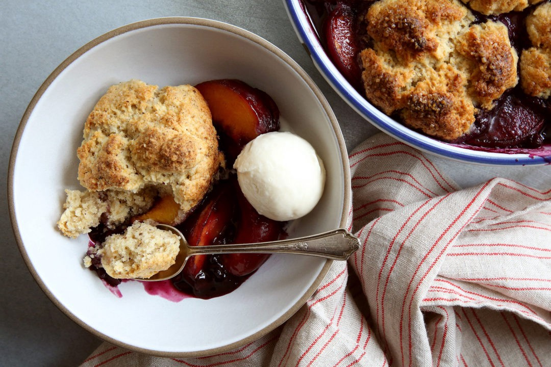 Peach and Blueberry Cobbler With Hazelnut Biscuits