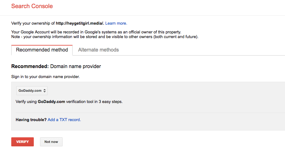 how to get on google and verify your site