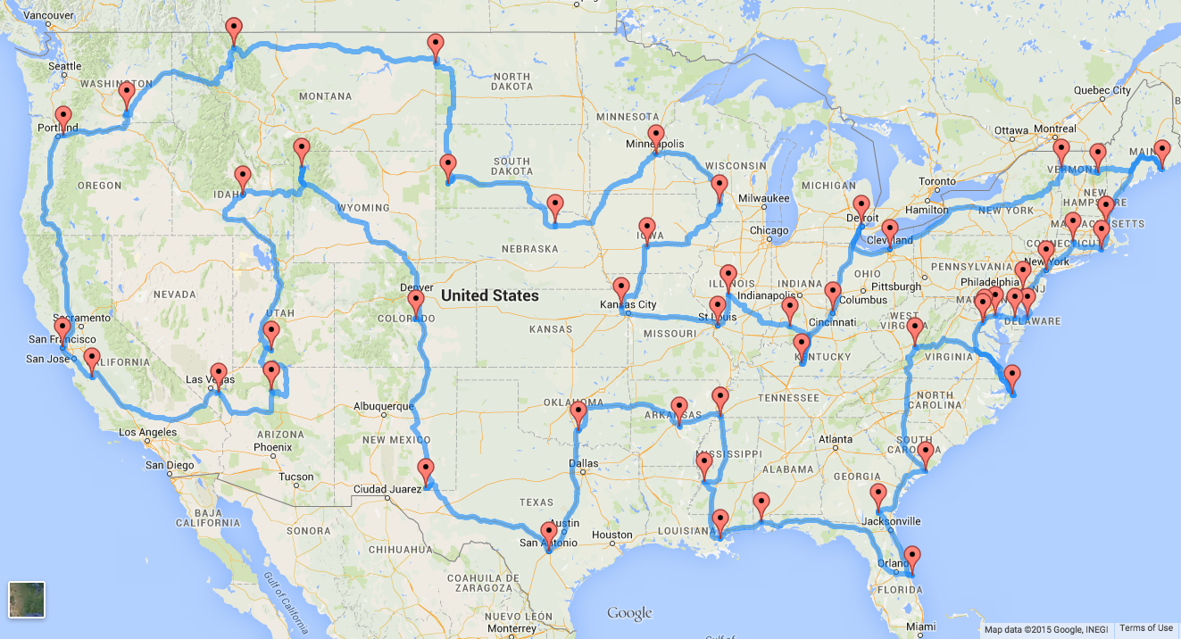 This Is The Perfect US Road Trip According To Scientists - Map of all the states in the us