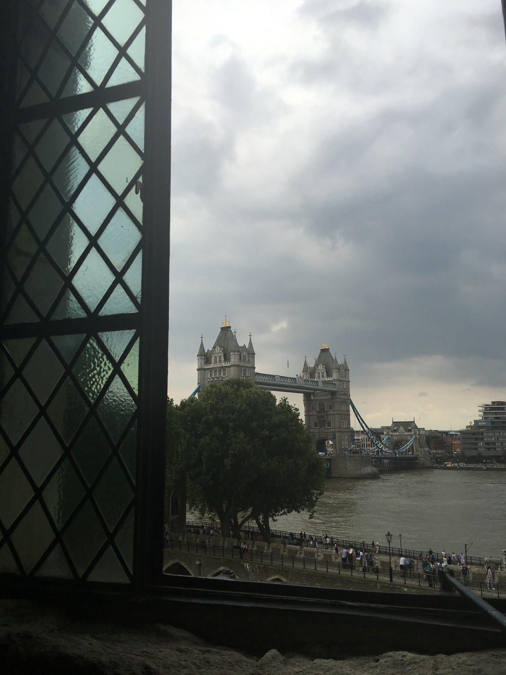 Tower Bridge as seen from a window in the White Tower in the Tower of London
