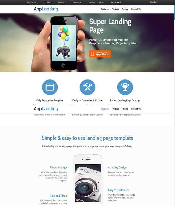 Free responsive html5 css3 website templates level up medium free retina ready responsive app landing page website template maxwellsz