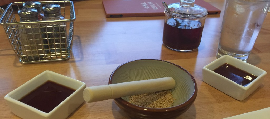 Gyoza Dipping Sauce, Sesame Seed with Japanese Mortar and Pestle, Hot Chili Oil