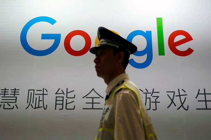 1146199 a google sign is seen during the china digital entertainment expo and conference chinajoy in shangha