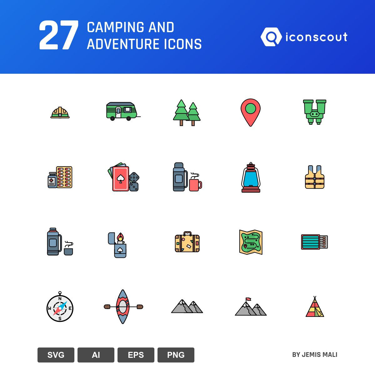 Camping And Adventure icons by Jemis Mali