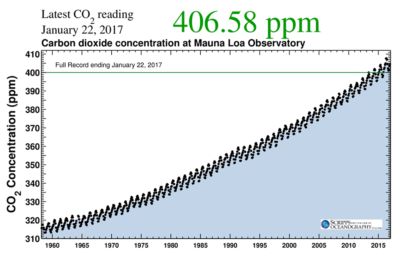 Concentrations of carbon dioxide in Earth's atmosphere have risen rapidly since measurements began nearly 60 years ago, climbing from 316 parts per million (ppm) in 1958 to more than 400 ppm today. (Levels a few centuries ago held steady at about 280 ppm.)
