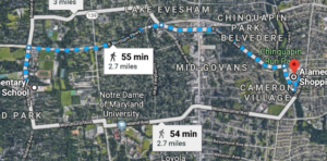 Map of route from Roland Park to Alameda Shopping Center