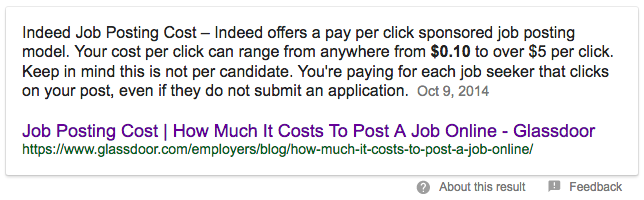 indeed job posting cost