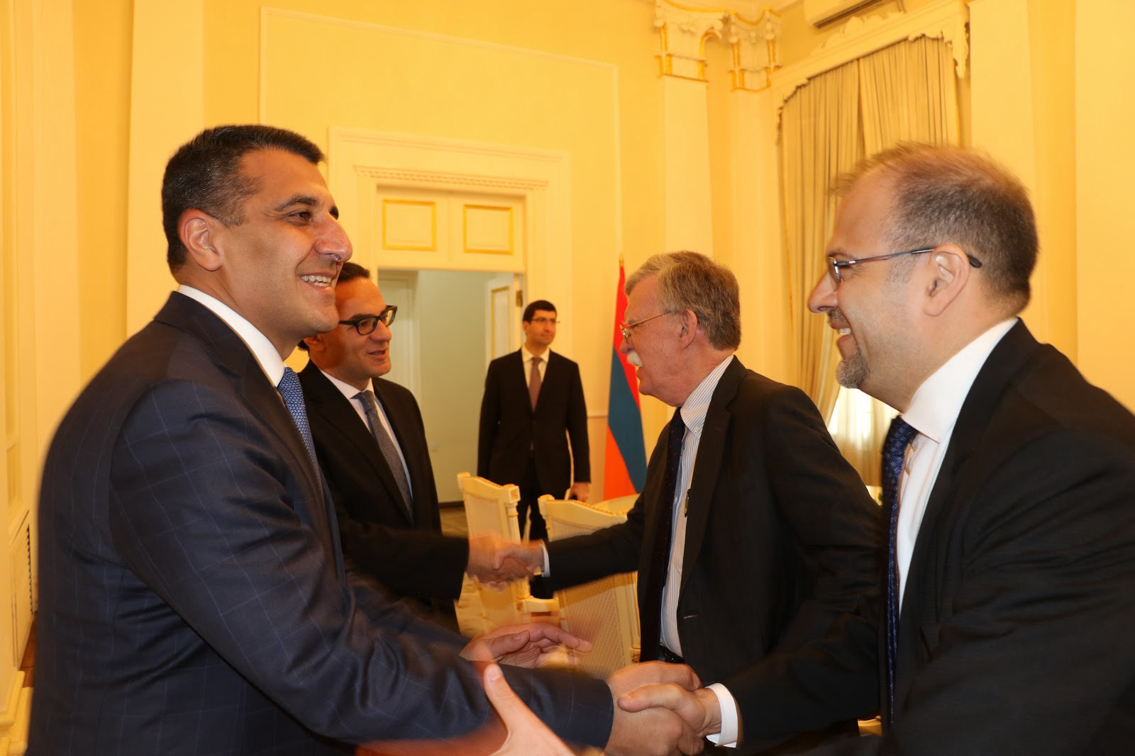 Embassy Yerevan's Chargé d'Affaires Rafik Mansour greets newly appointed Armenian Ambassador to the U.S. Varuzhan Nersesyan during National Security Advisor John Bolton's recent visit to Armenia.
