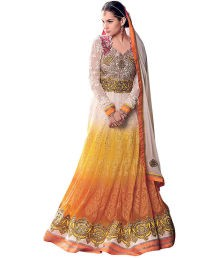 Zfashion Multicolour Embroidered Faux Georgette Anarkali Dress Material