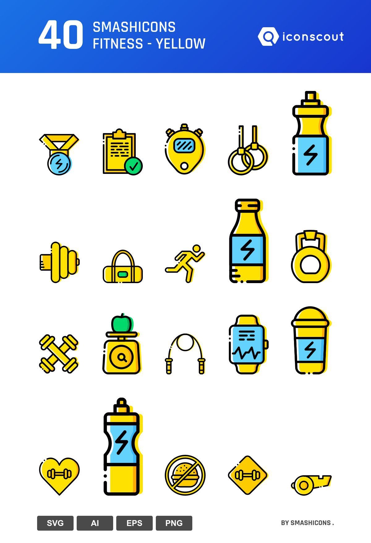 Smashicons Fitness - Yellow icons by Smashicons .