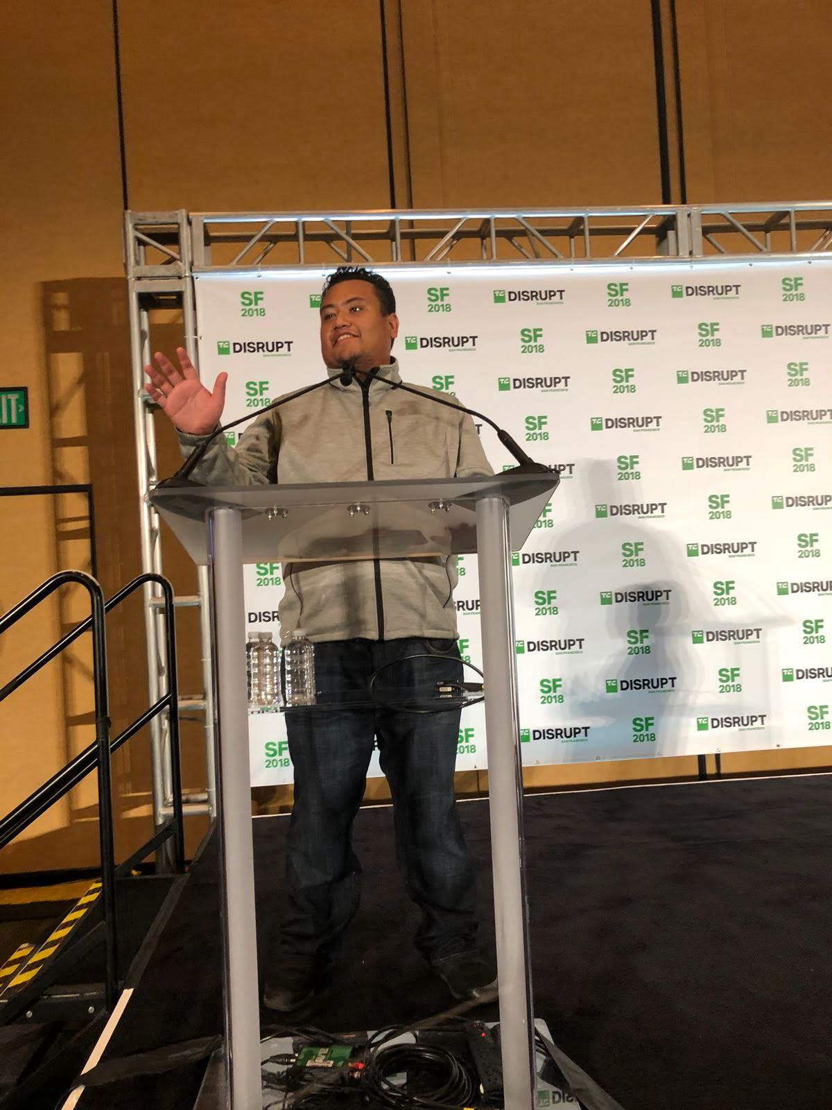 Asad Zulfahri on stage at TechCrunch San Francisco 2018