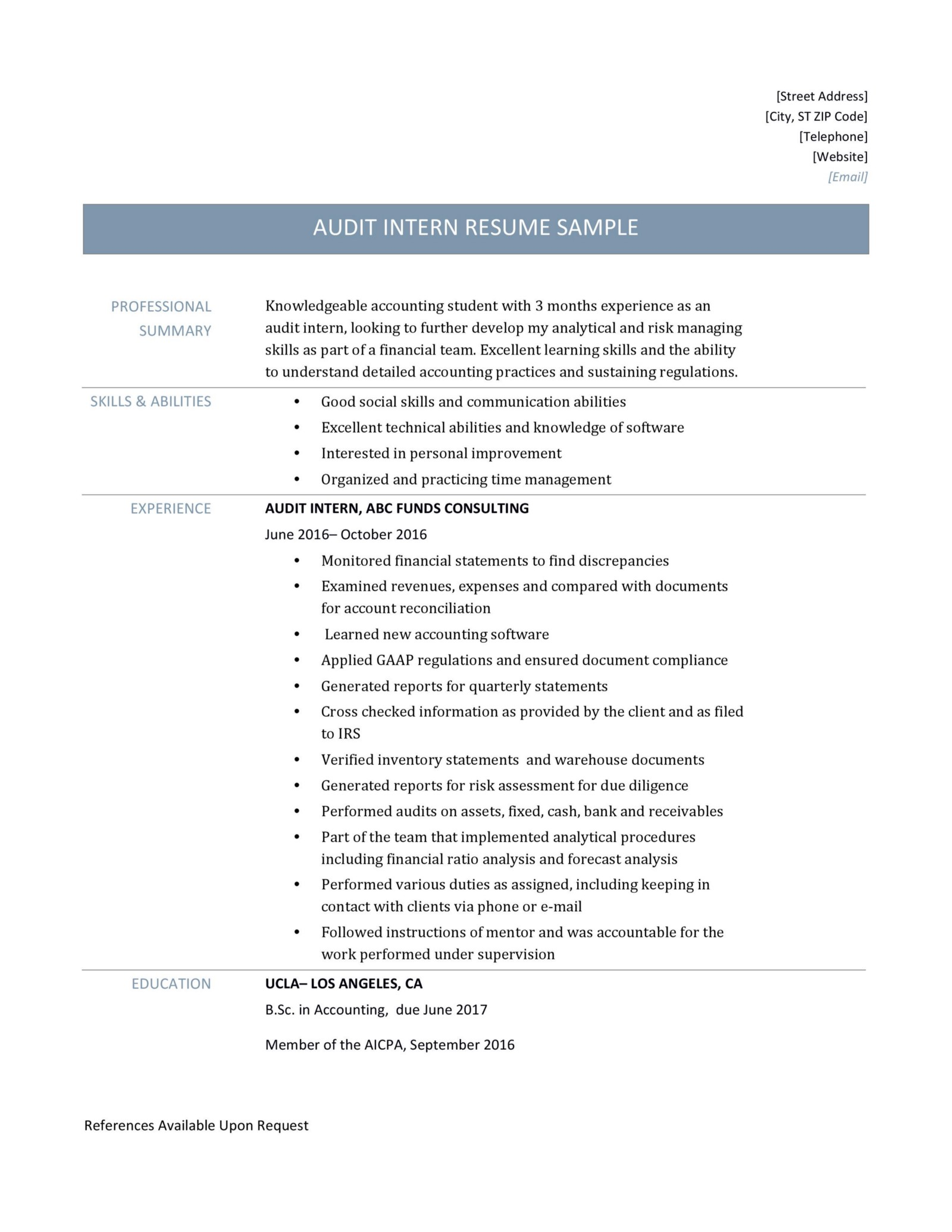 audit intern resume samples  u2013 online resume builders  u2013 medium