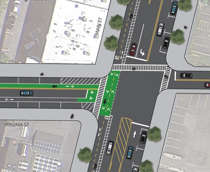 Plan view of the Main Street/Virginia Street intersection illustrating the two-way cycle track and three-lane configuration proposed for Main Street in the Buffalo Bike Plan.