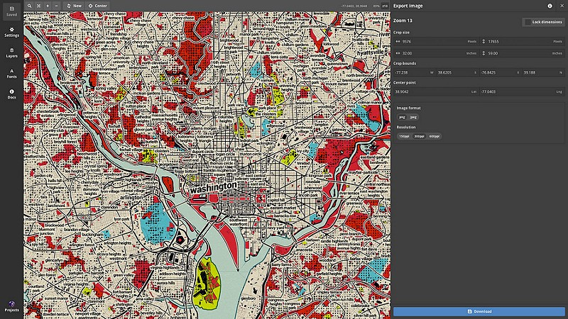 Web to canvas print resolution independence with mapbox studio i started with the middle section as illustrated in the diagram below i centered my crop over washington dc and then set my crop size to 32 wide and 59 gumiabroncs Choice Image