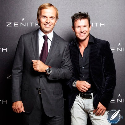 Former Zenith CEO Jean-Frédéric Dufour with superstar BASE jumper Felix Baumgartner in 2012; Dufour successfully established this powerful alliance with the athlete