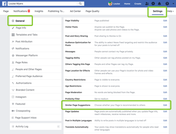 turn off Facebook Similar Page Suggestions screenshot