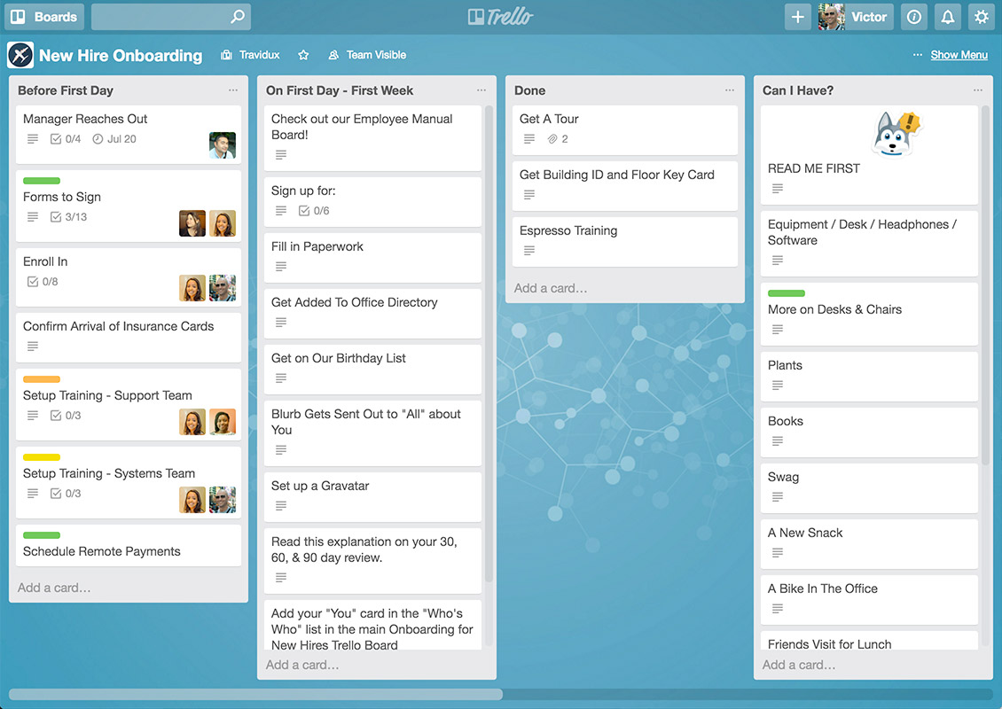 Trello's workspace