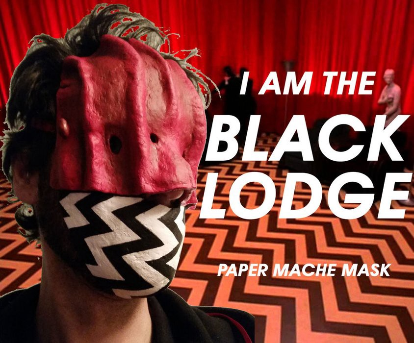 black lodge paper mache mask