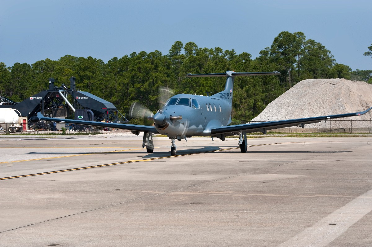 A PC-12 in a more traditional camo paint job. Air Force photo