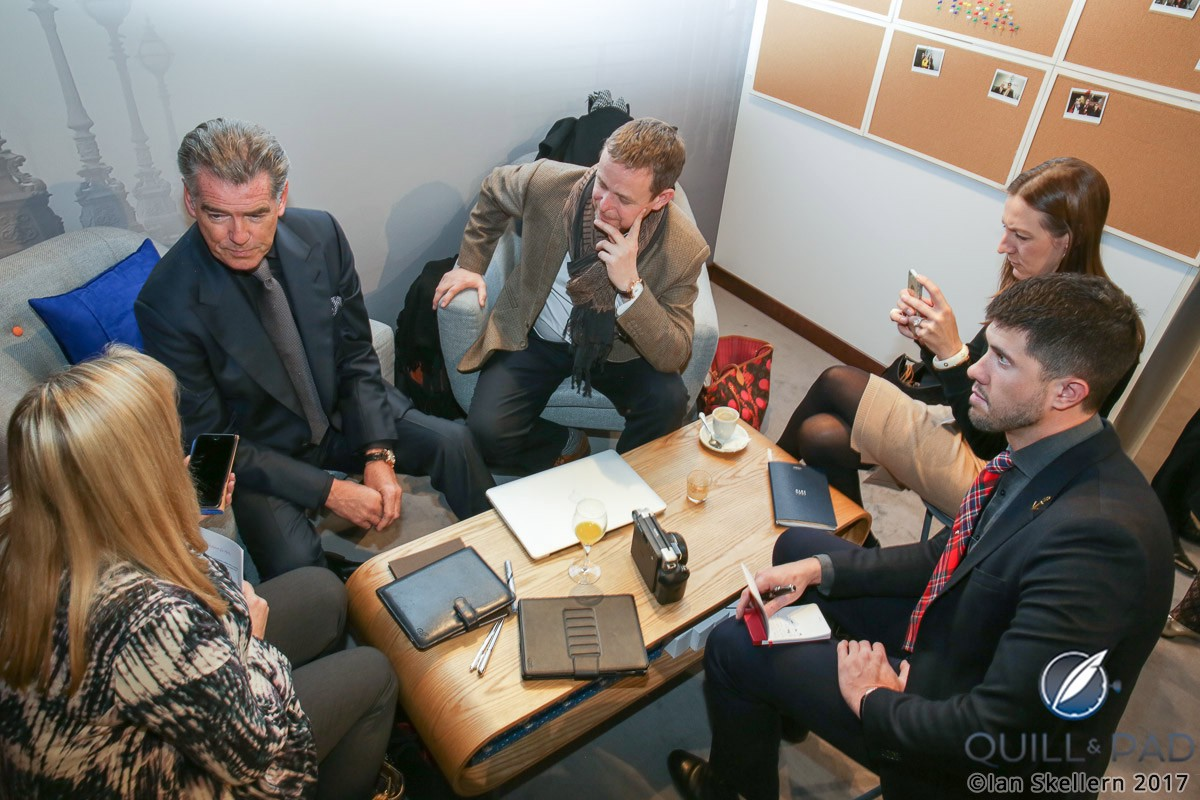 """The Quill & Pad team sitting down with Pierce """"James Bond"""" Brosnan courtesy of Speake-Marin"""