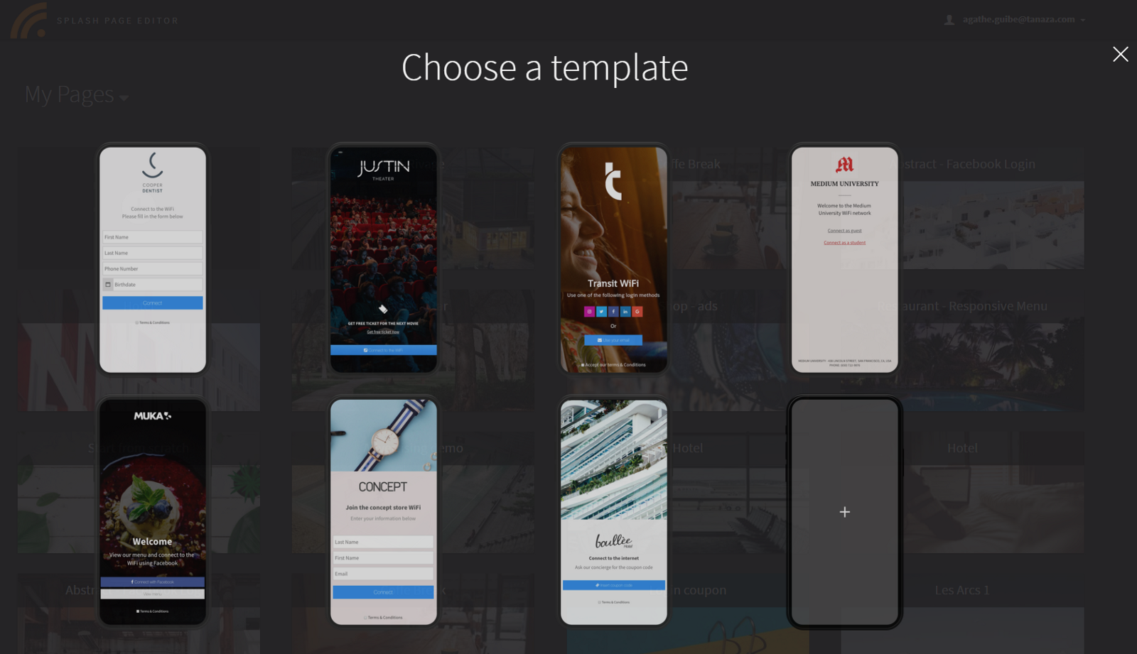 Tanaza released new templates for the splash page editor