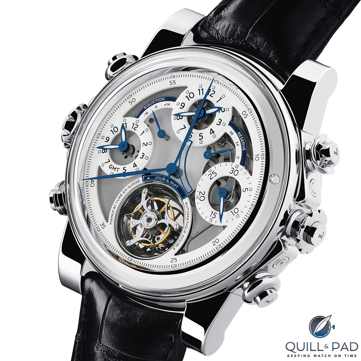 The time indication side of the Dominique Loiseau 1f4 featuring among other indications a split seconds chronograph, power reserve, equation of time, GMT, flying tourbillon and peripheral automatic winding rotor with a single embedded diamond