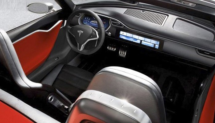 Dashboard View Of Tesla Roadster