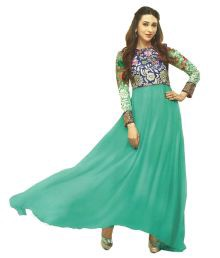 Kreationz Turquoise Blue With Multicolour Embroidered Unstitched Party Wear Dress Material With Georgette Dupatta